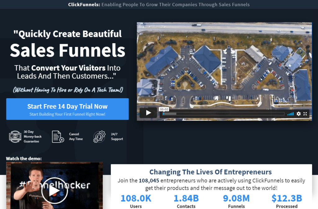Clickfunnels home page direct response marketing landing page
